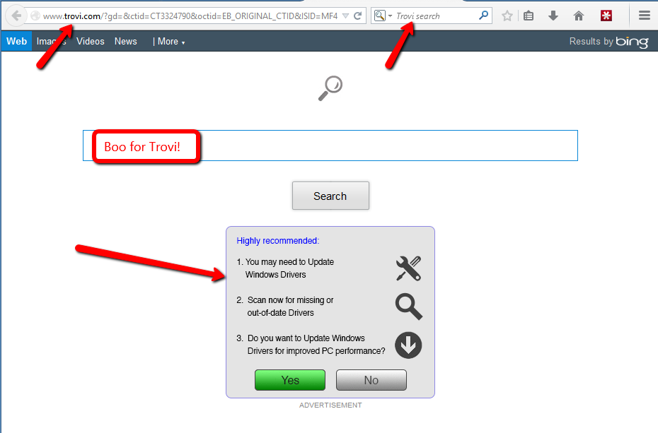 how to get rid of trovi com homepage