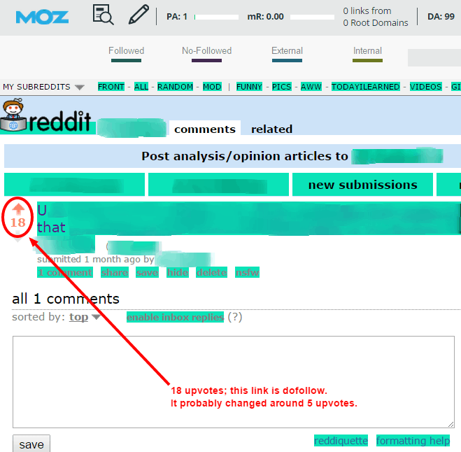 Reddit dofollow link