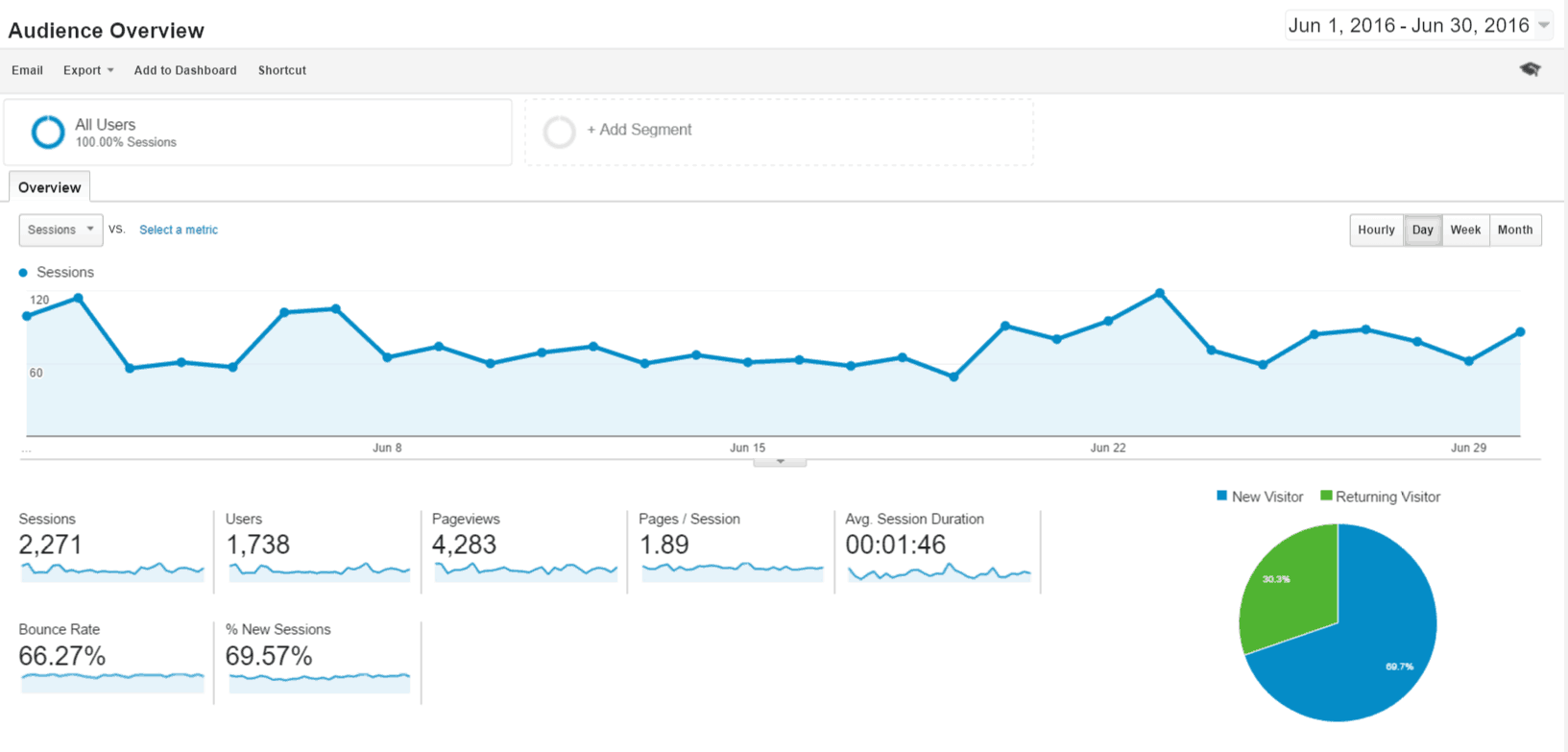 Google Analytics June Audience Overview