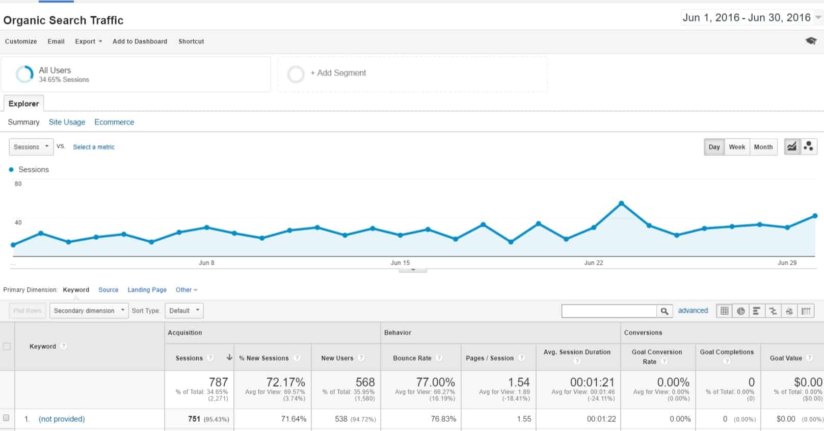 Google Analytics June Organic Search
