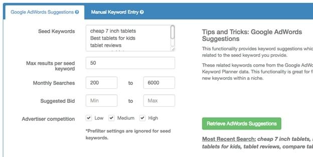 Retrieve Adwords Suggestions