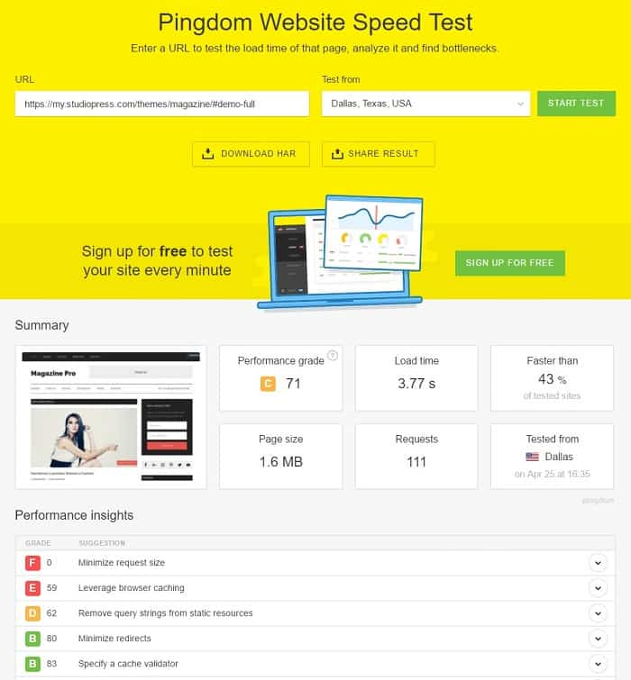 Pingdom Example for Magazine Pro by StudioPress