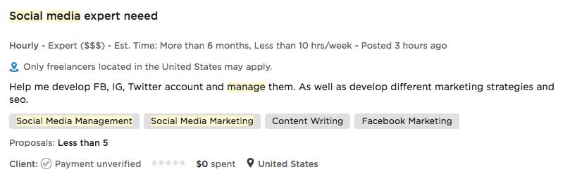 Social Media Job Post
