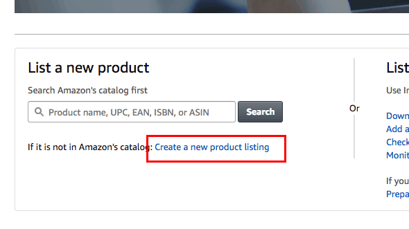 Create a new product on amazon