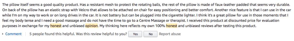 Honest review on Amazon