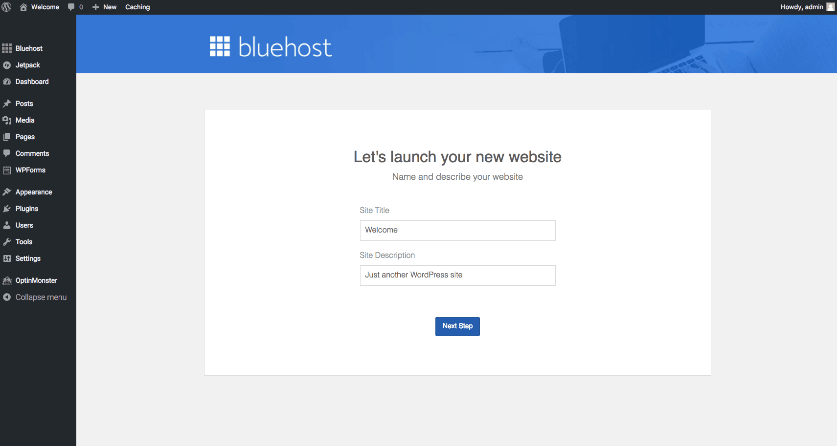 bluehost site title