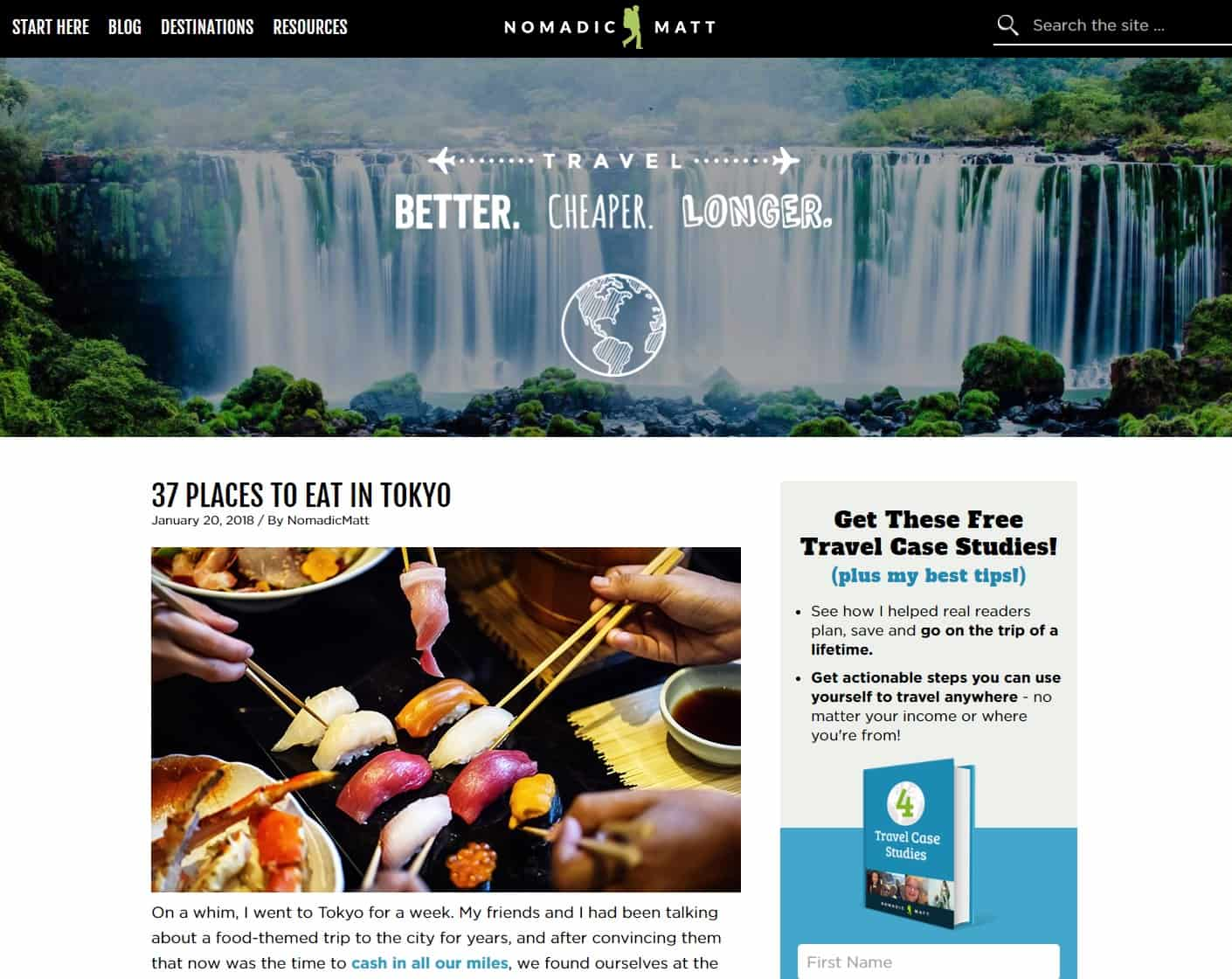 travel niche site idea