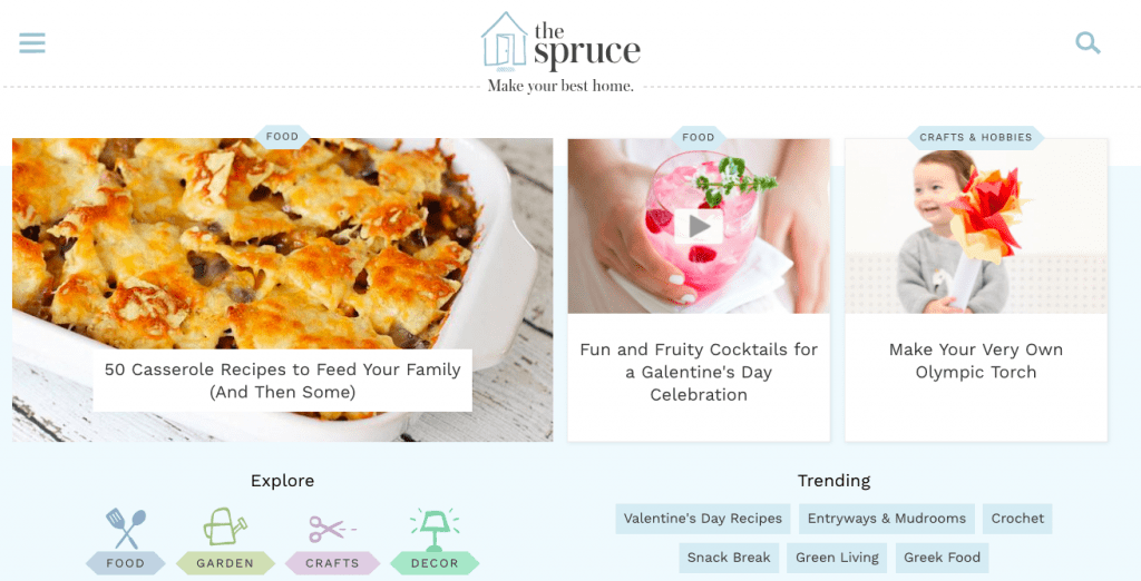 The Spruce Home page