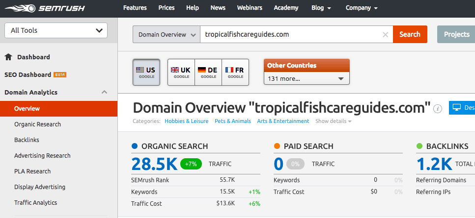 Domain Overview in SEMRush