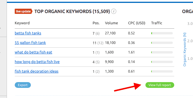 SEMRush Organic Keyword Report