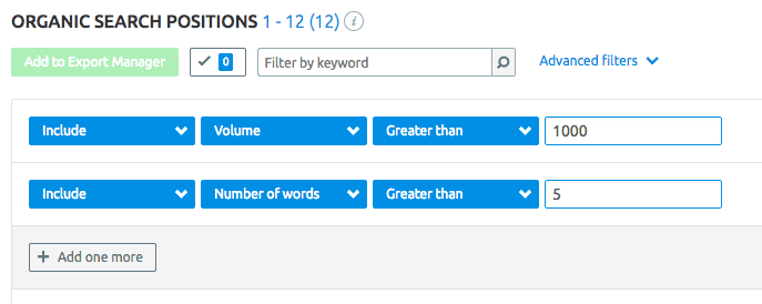 Long Tail keywords with SEMRUsh