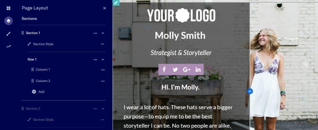 páginas de layout de página