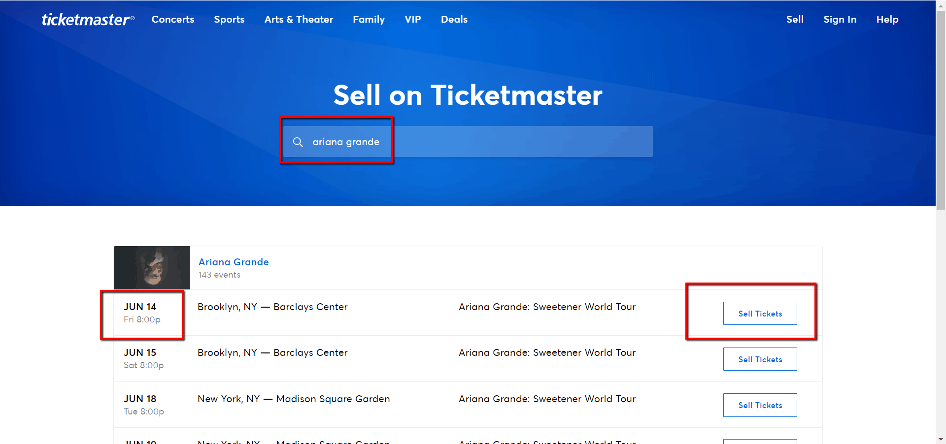 ticketmaster sell
