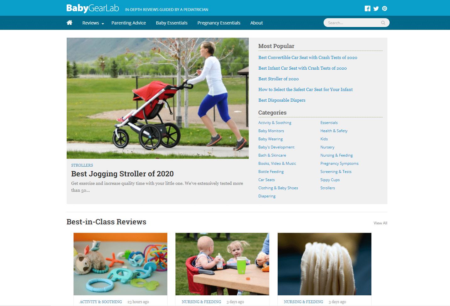 baby gear lab niche website