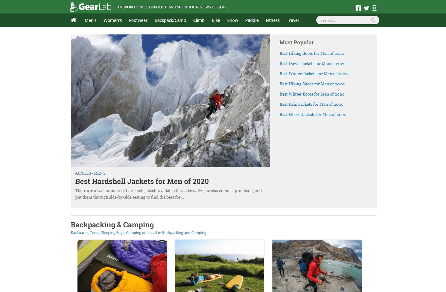 outdoor gear lab homepage screenshot