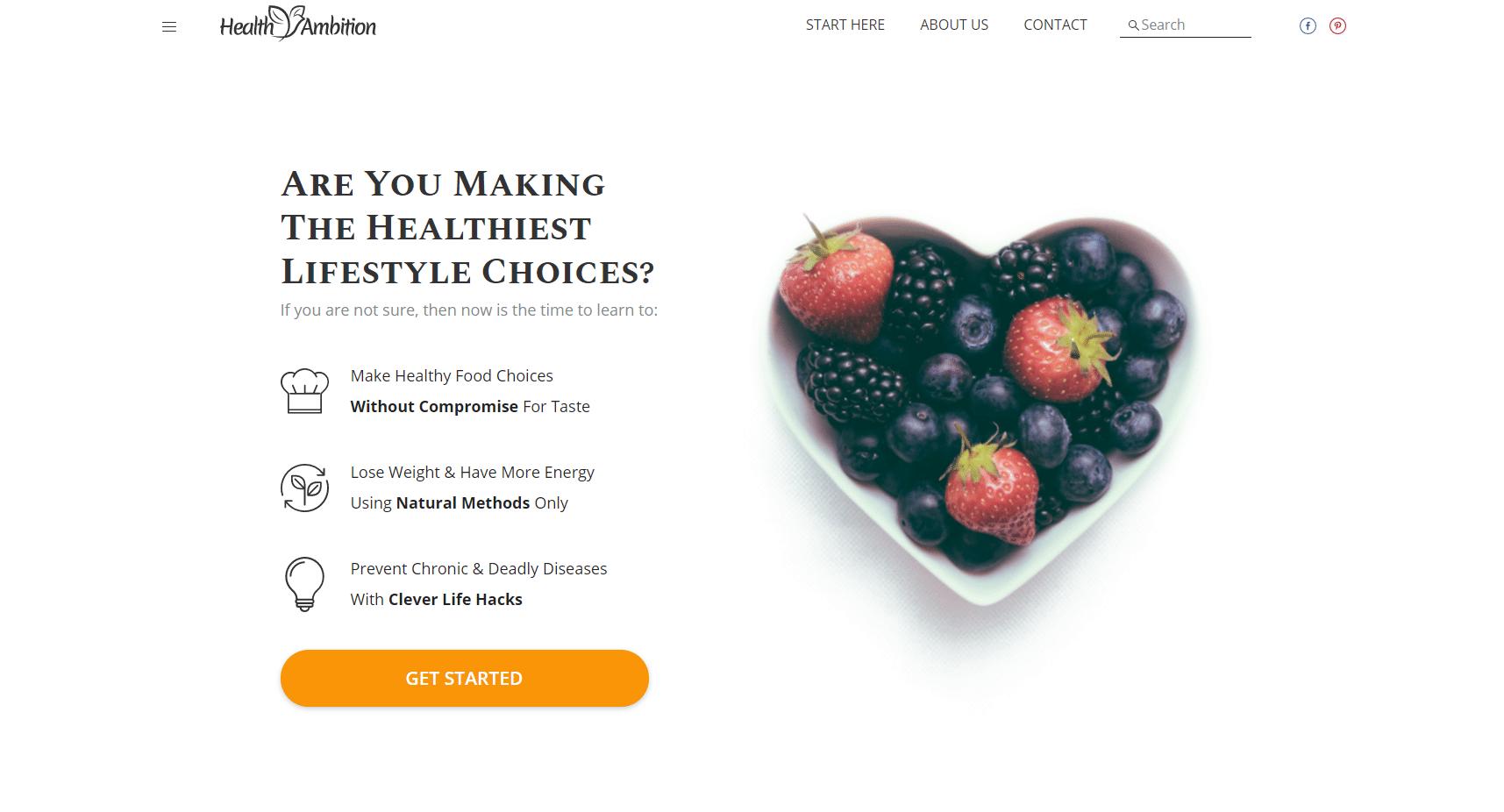 Health Ambition Niche Site Homepage