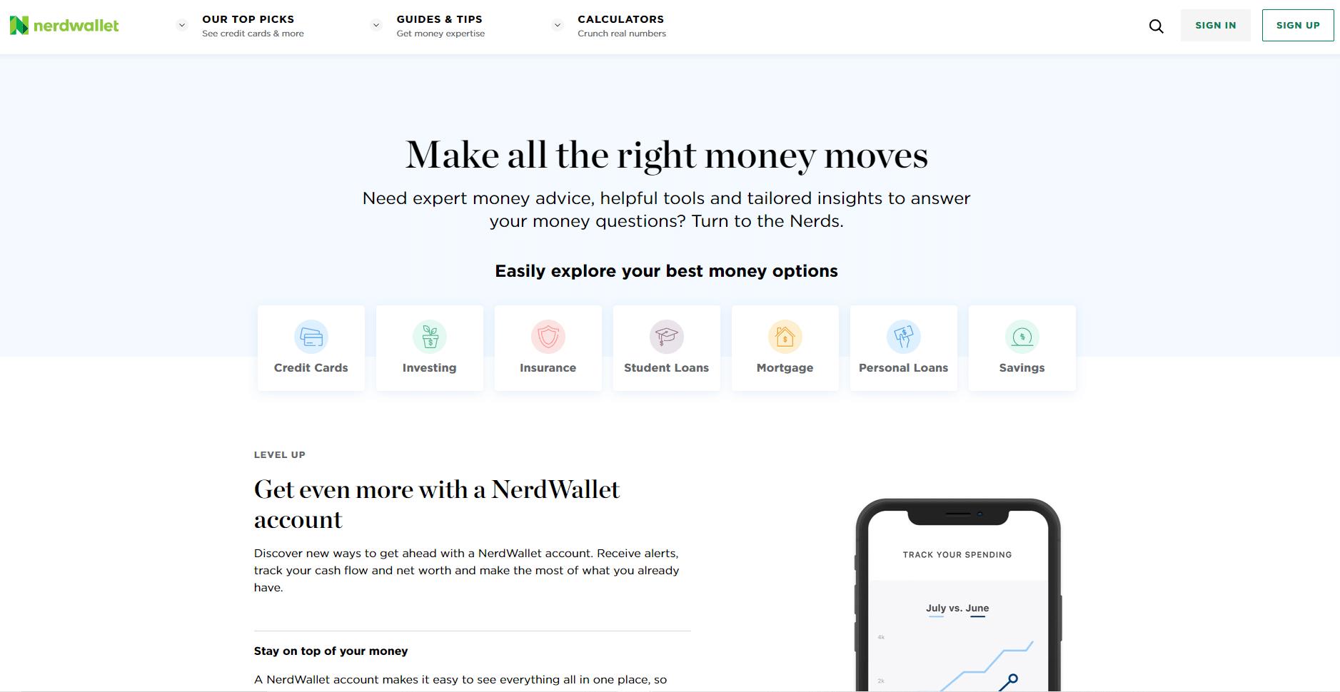 Nerd Wallet Niche Site Homepage