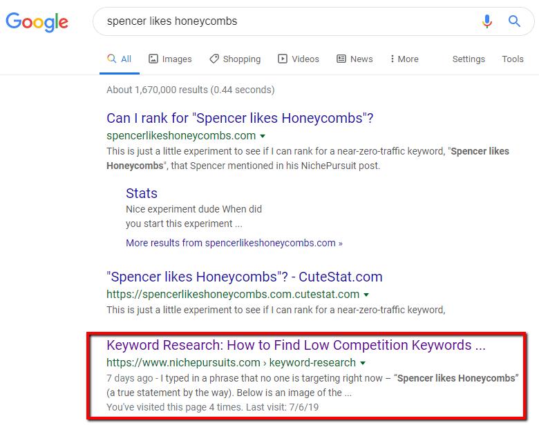 keyword ranking experiment