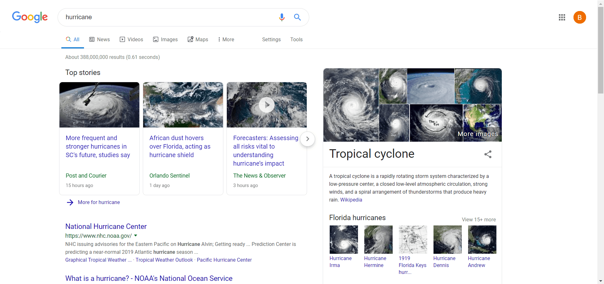 google hurricane results