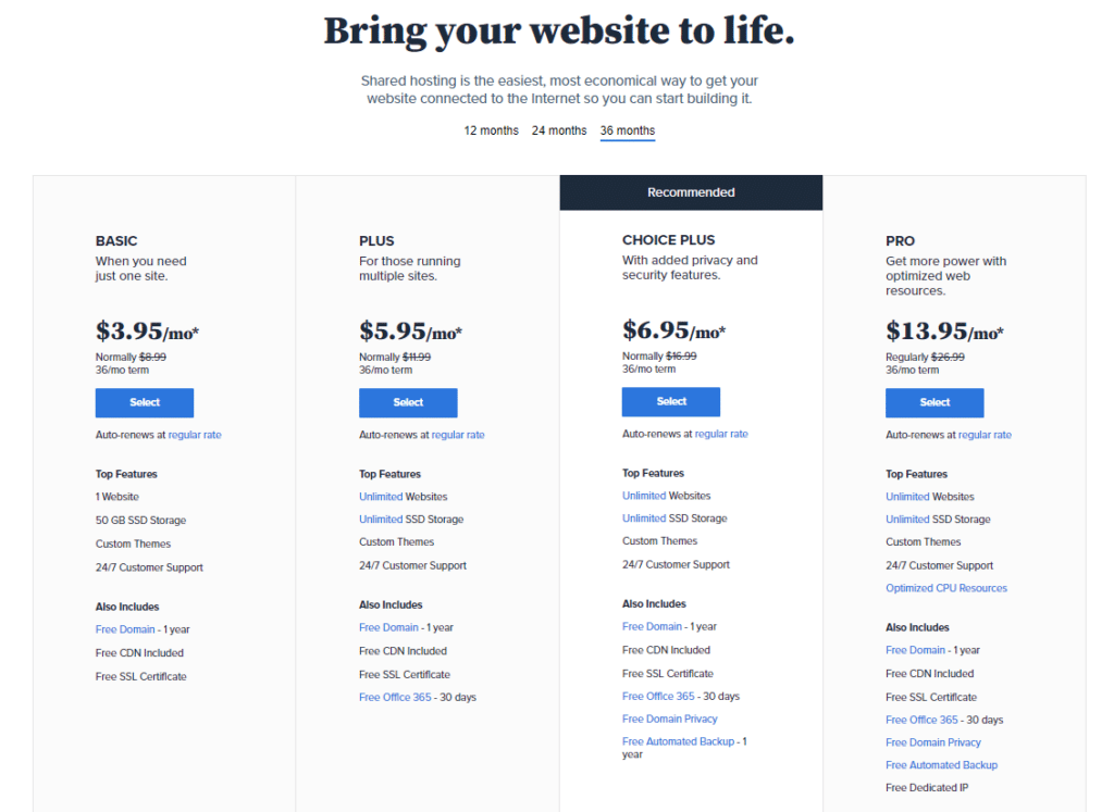 bluehost blog hosting plans