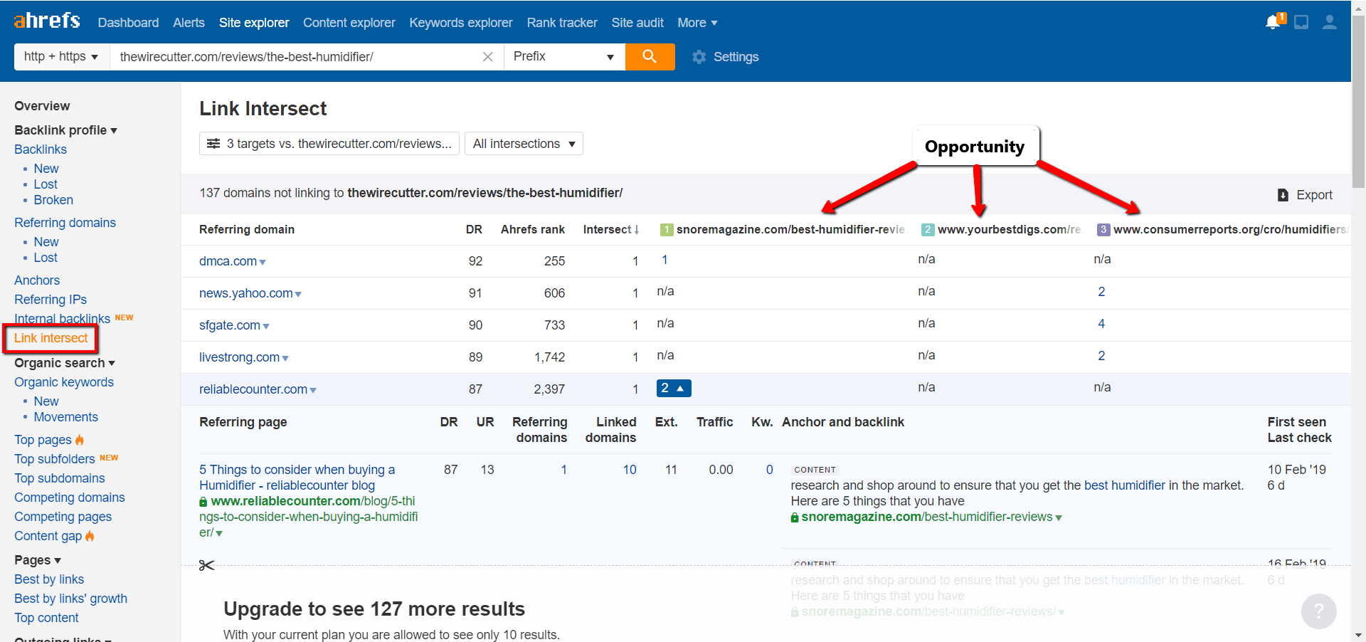 ahrefs link intersect competitors