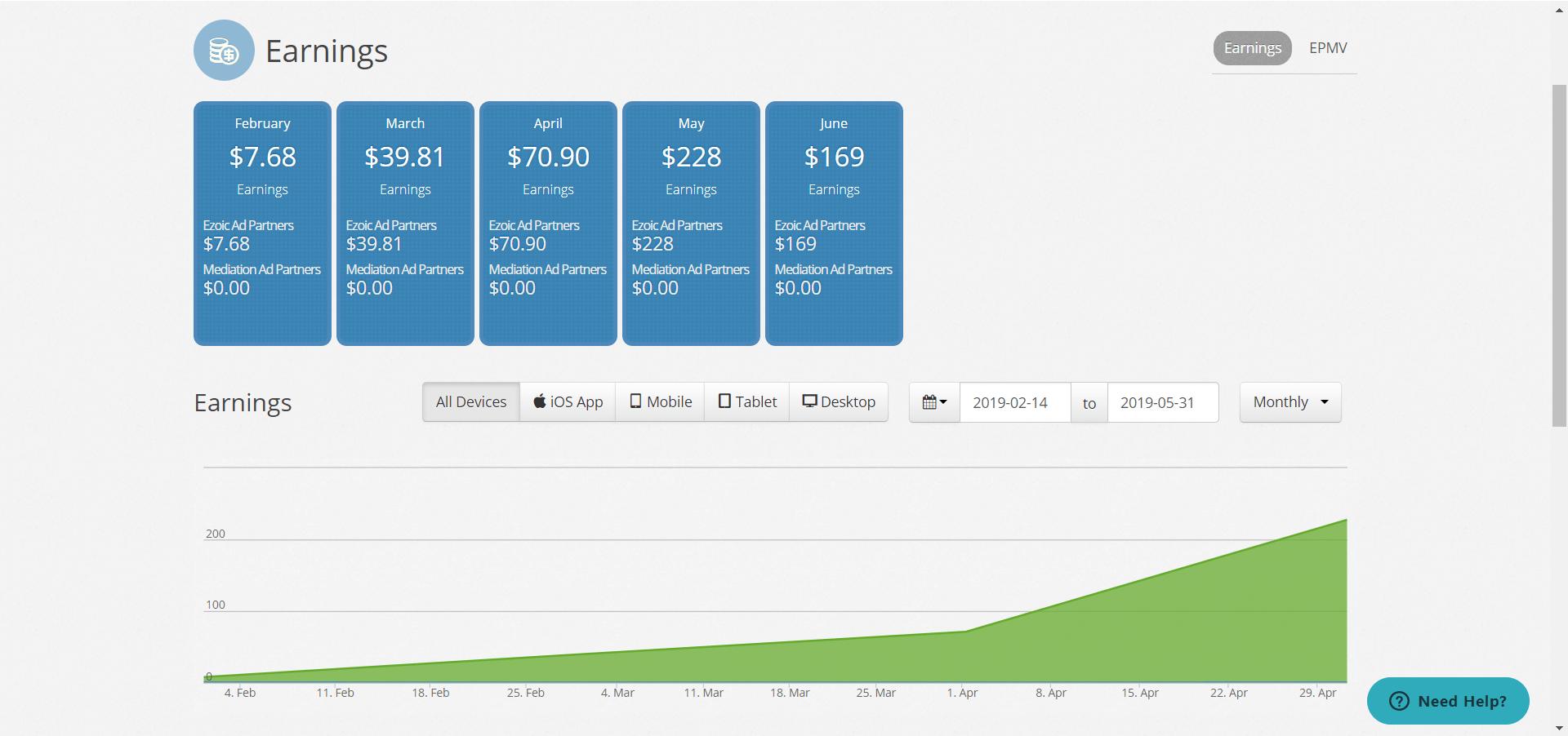 ezoic earnings for june