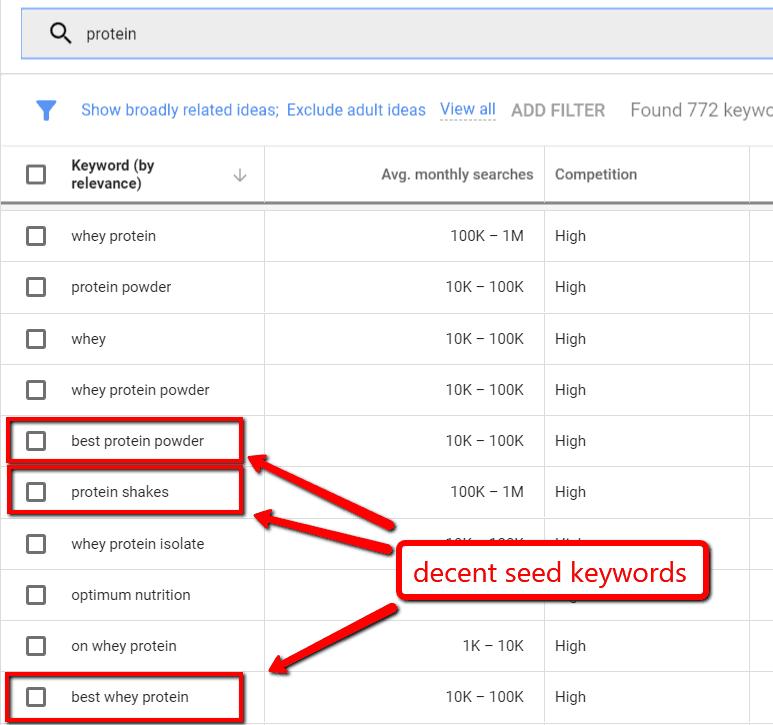 google keyword planner seed keywords