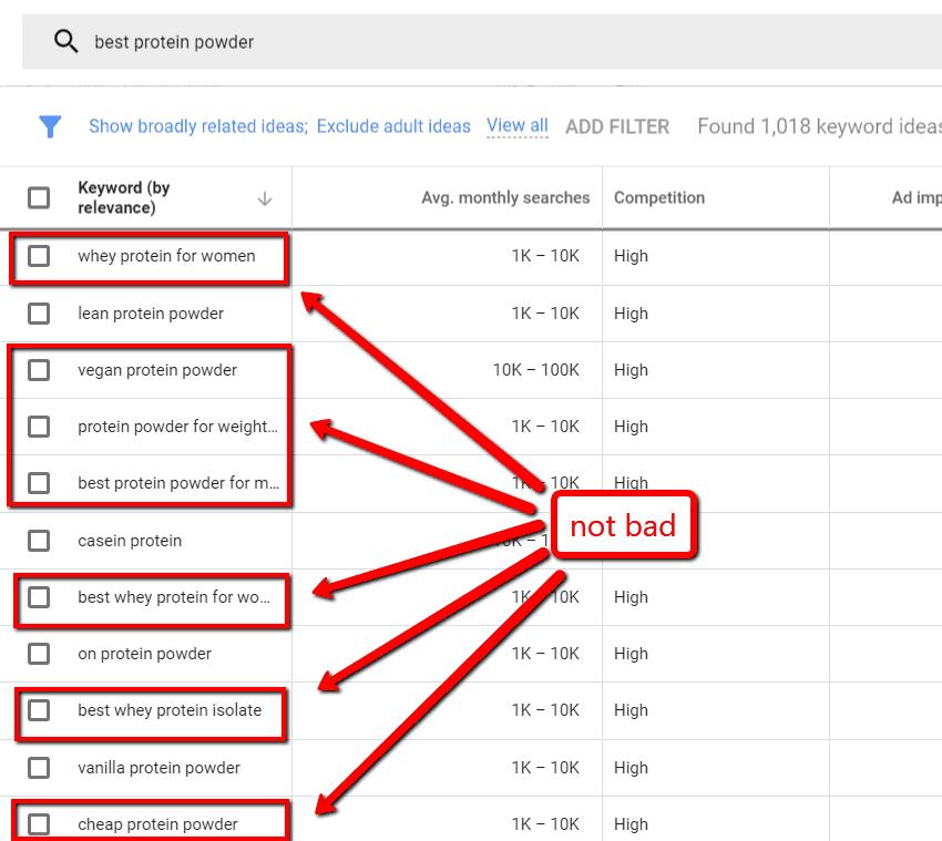 google keyword planner long tail keywords