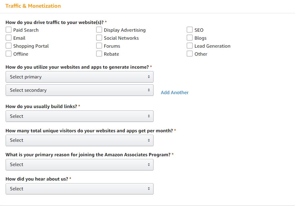 amazon associates application