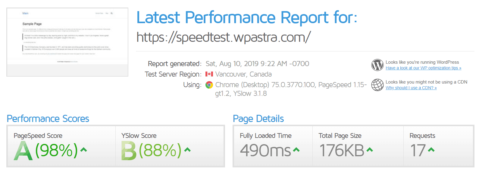 gtmetrix wp astra speed test