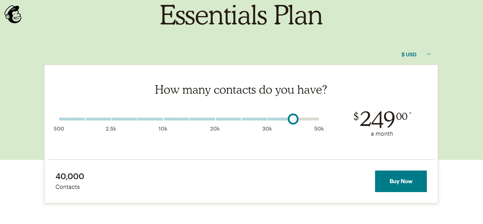 Mailchimp pricing for 40,000 contacts