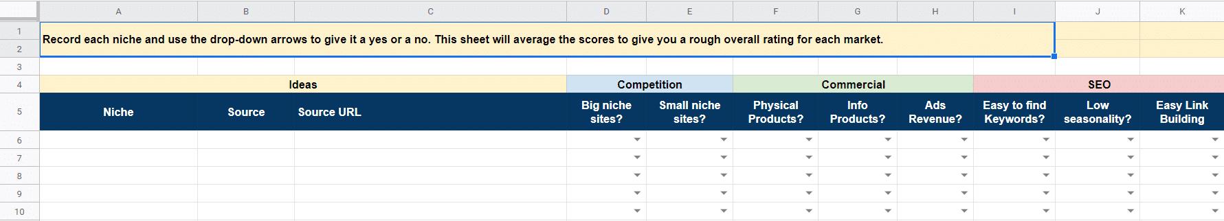 tass niche selection spreadsheet