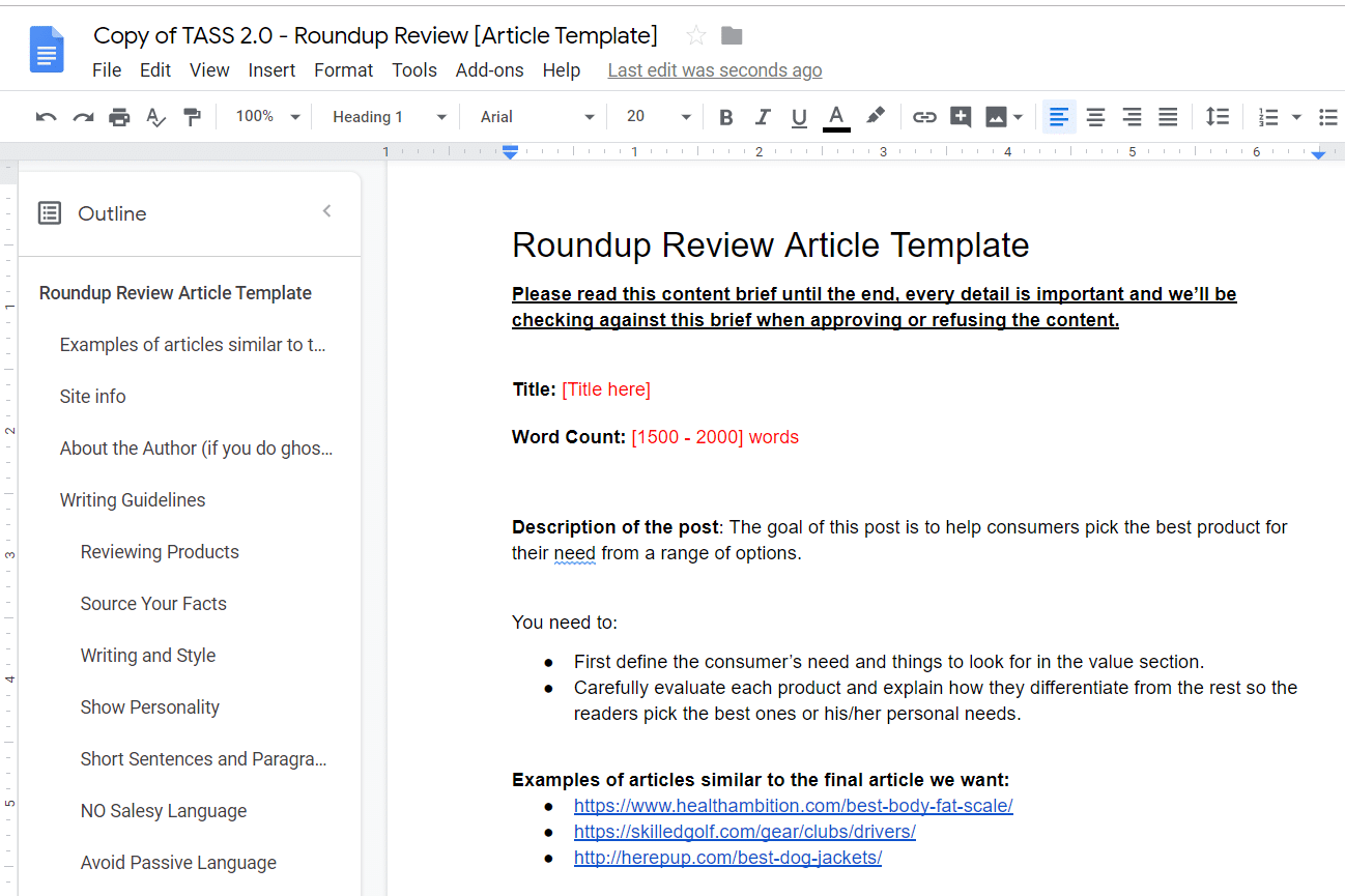 tass roundup review template