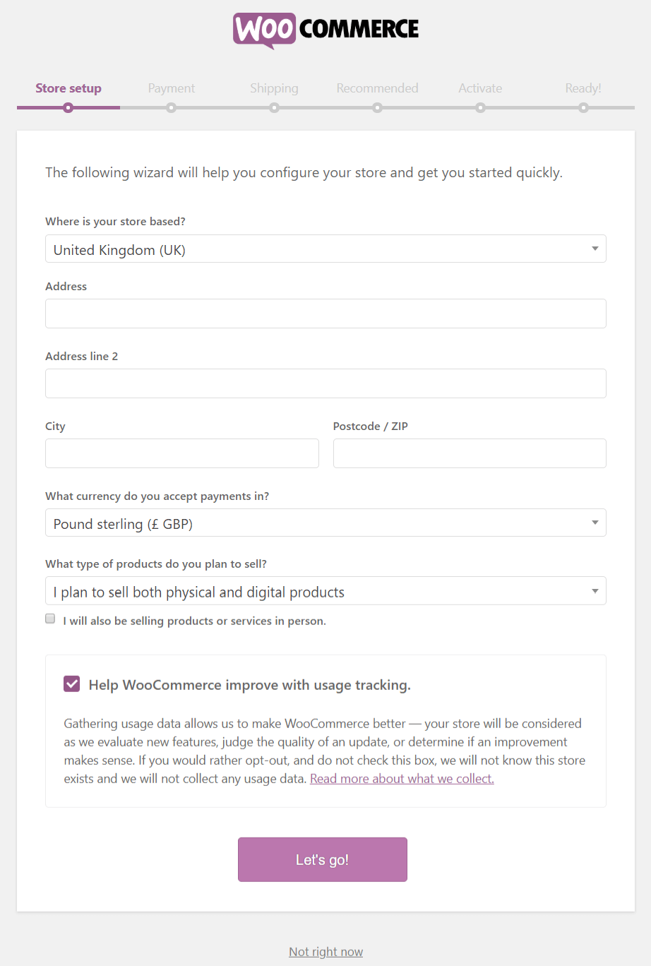 WooCommerce Setup Wizard - Step 1