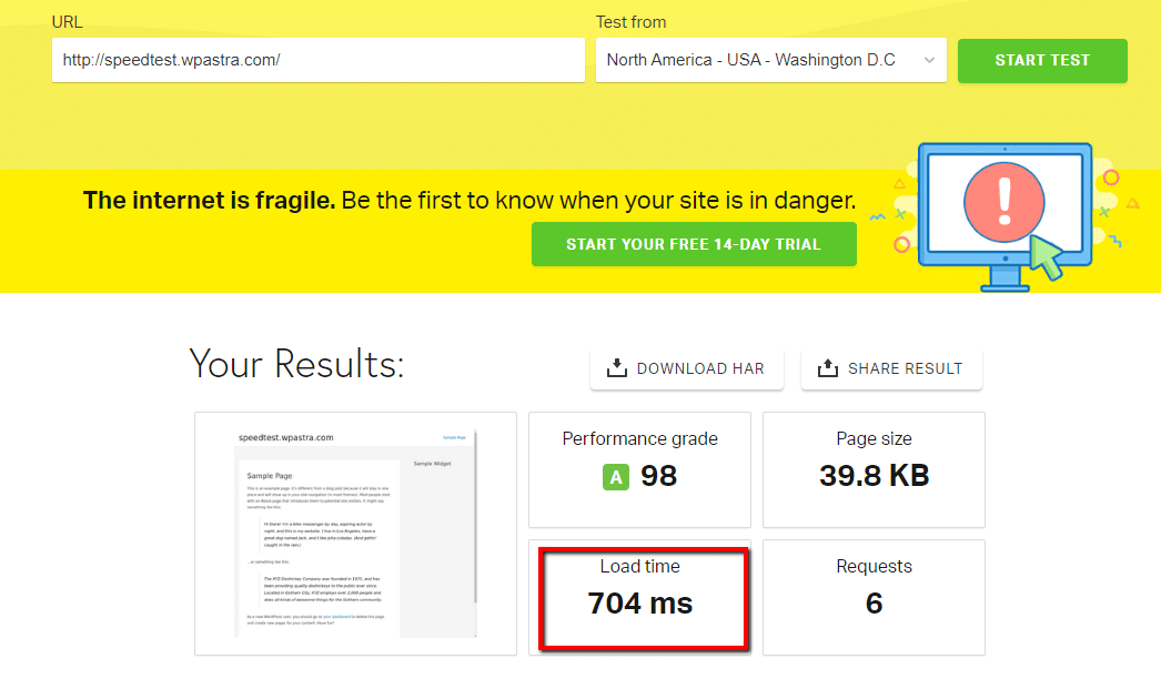 pingdom wp astra speed test
