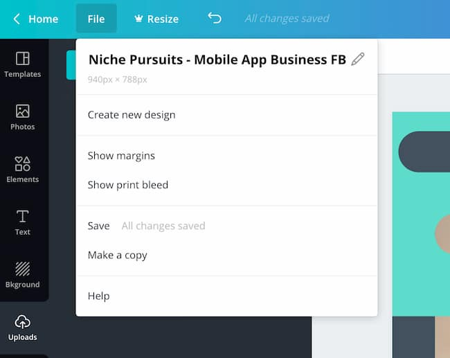 Canva file menu
