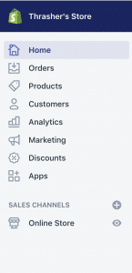 Shopify sidebar