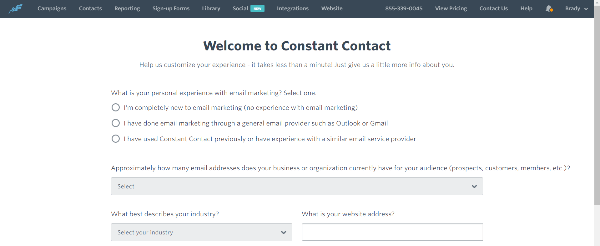 constant contact front page