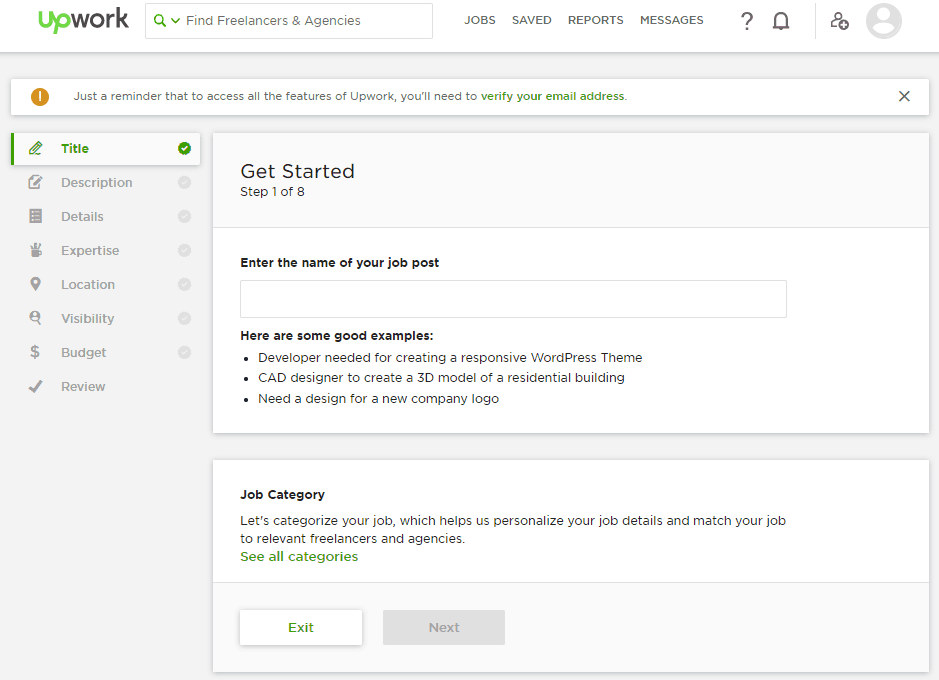 Upwork post job screen
