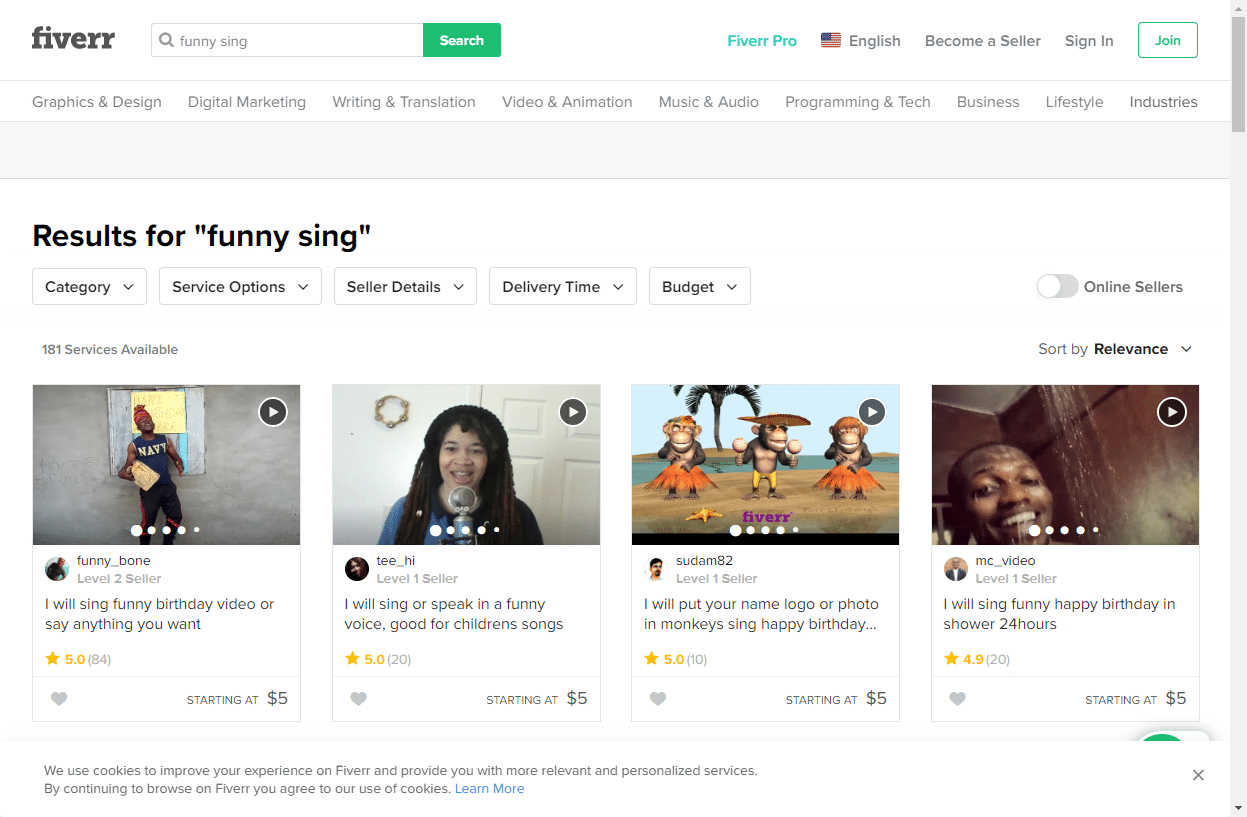 funny fiverr gigs