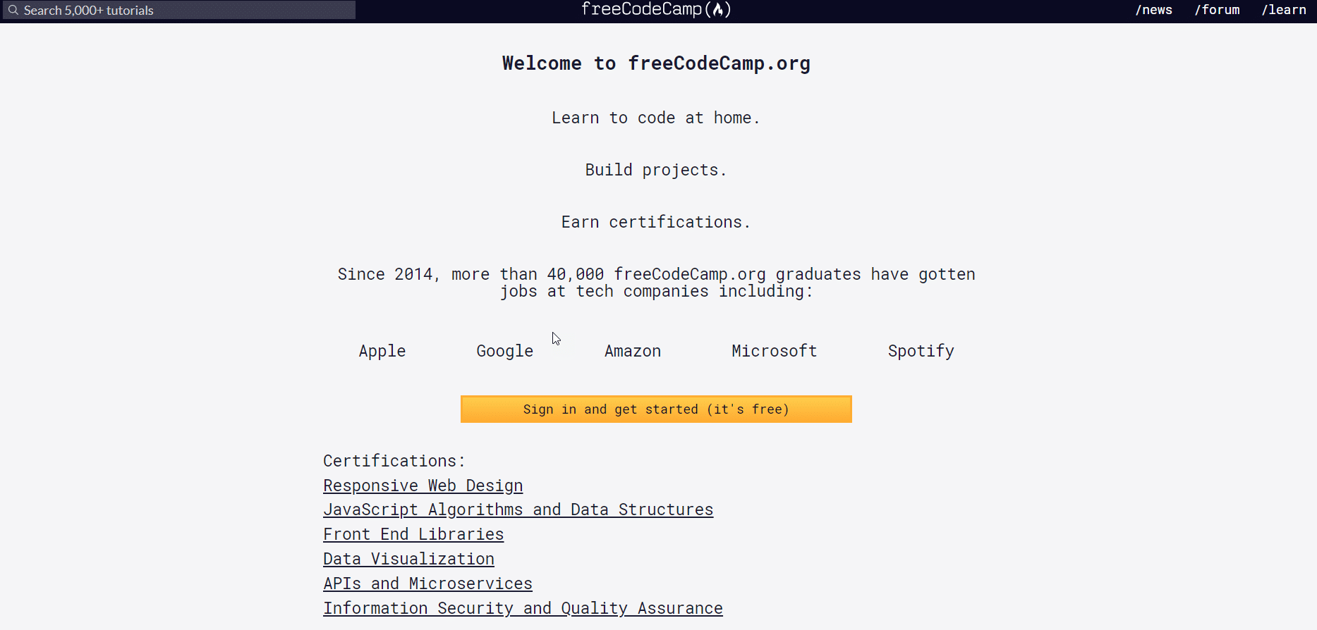 free code camp website homepage