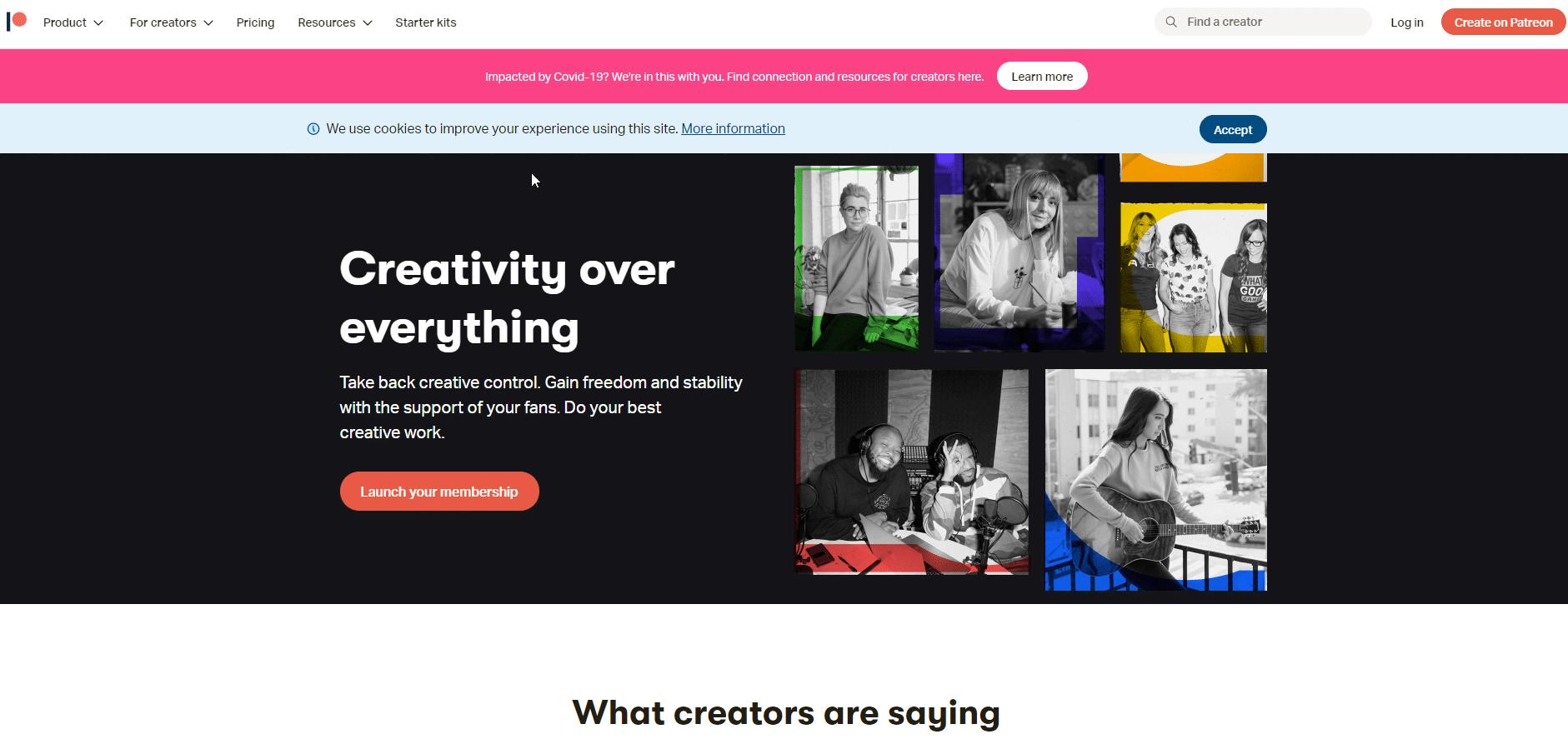Patreon home page screenshot