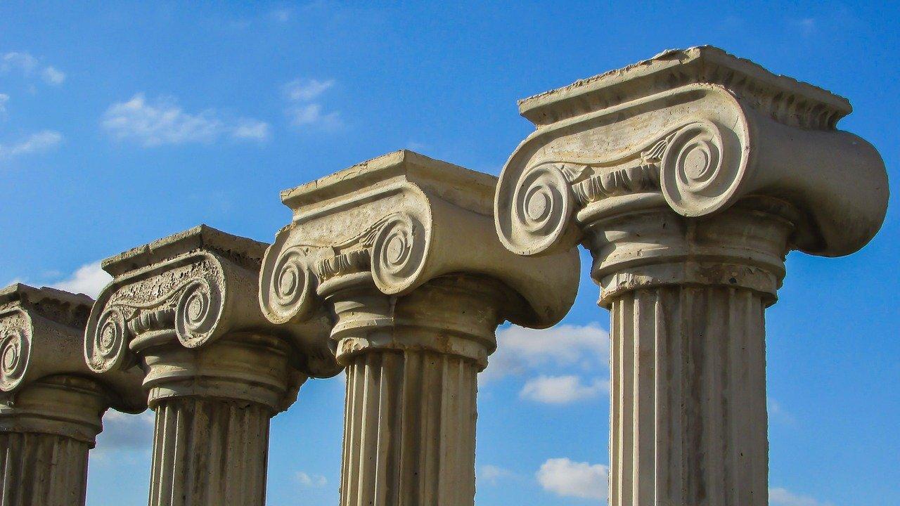 Three stone pillars