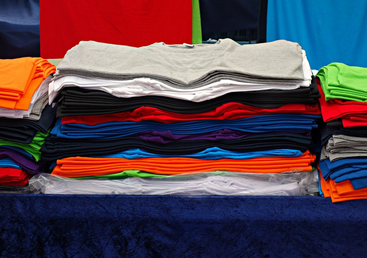 Pile of t shirts