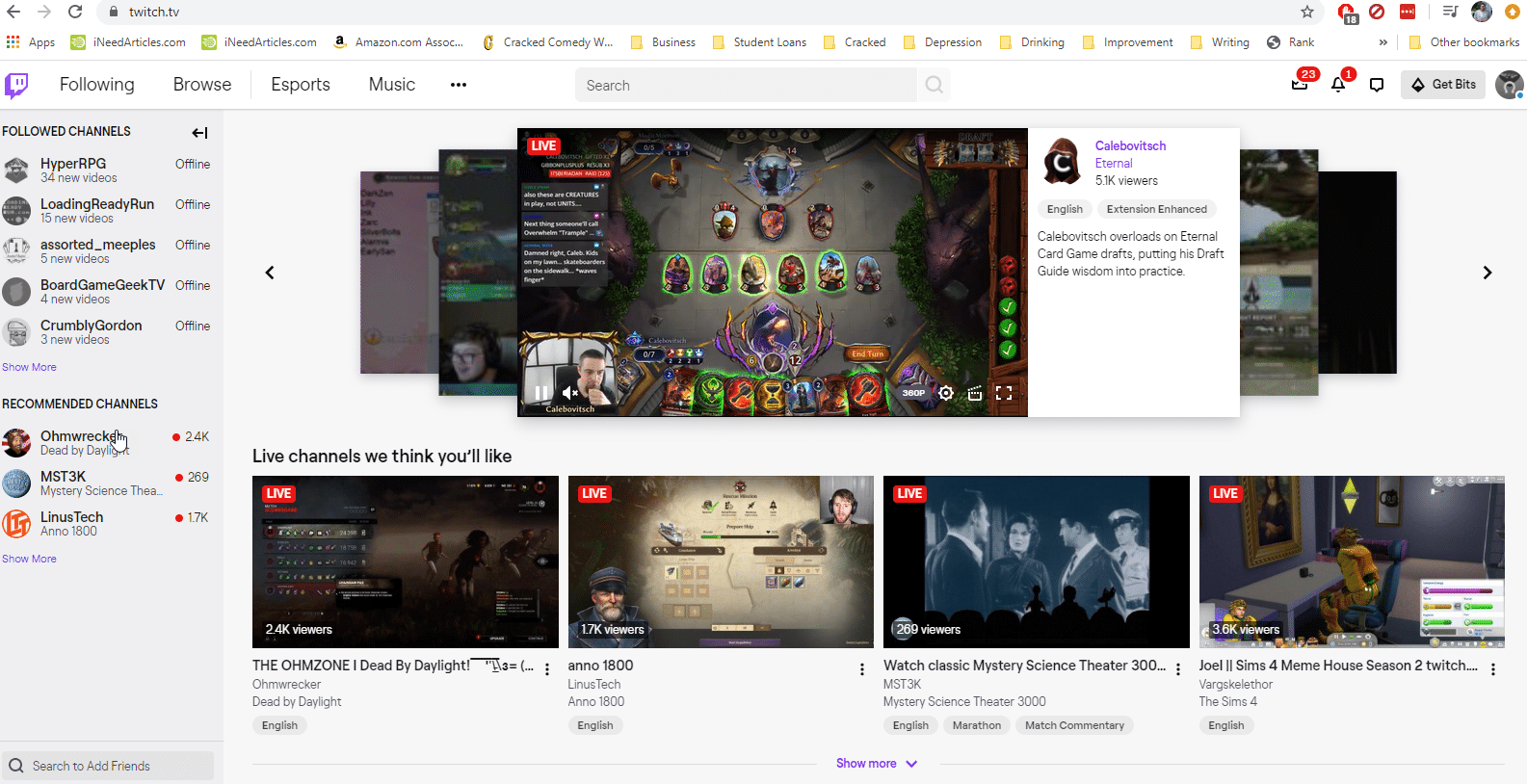 Twitch.TV Home Page