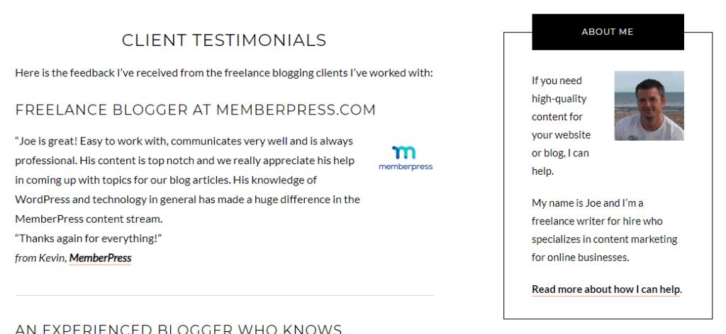 joecanwrite client testimonials