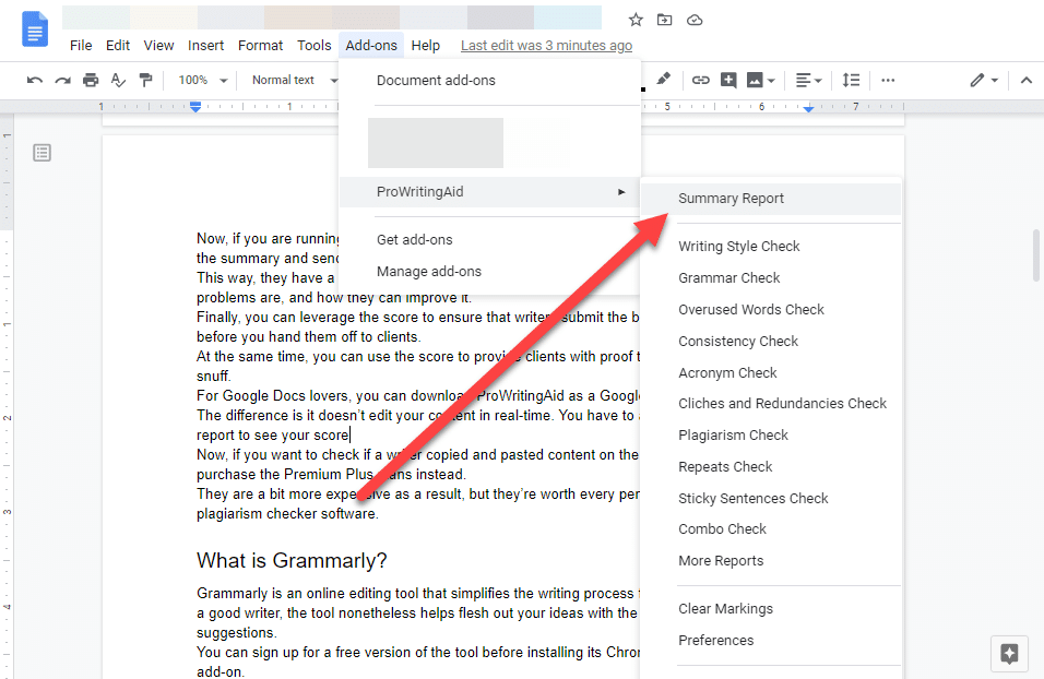 prowritingaid pour google docs