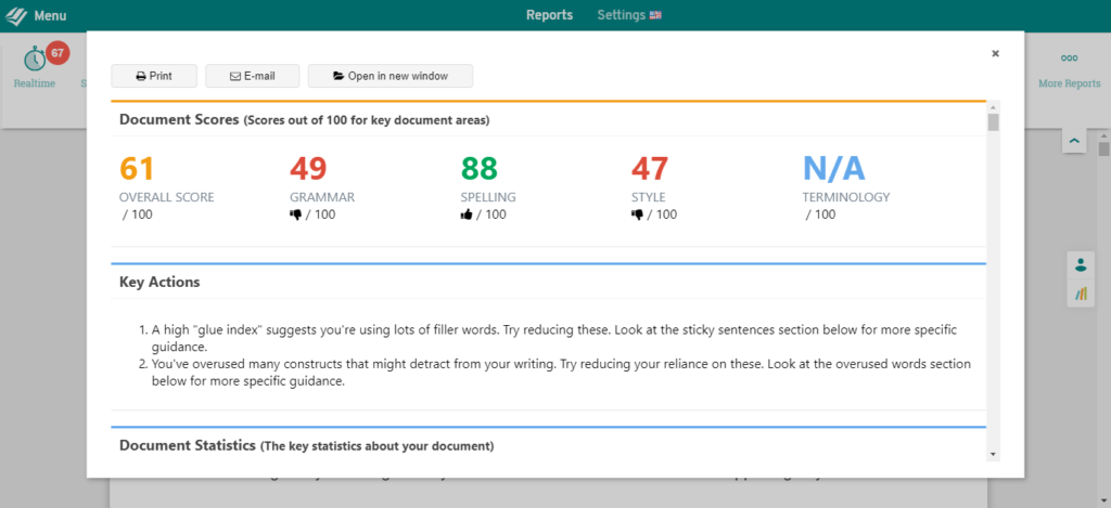 prowritingaid score for the same article