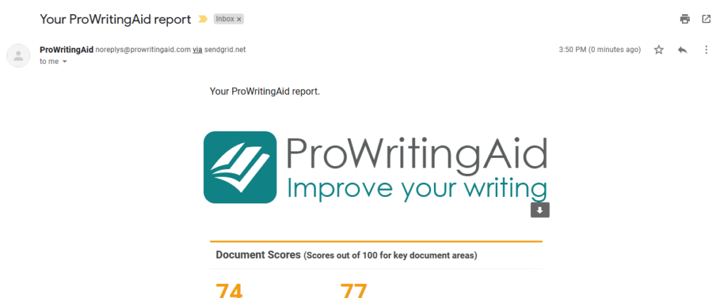 prowritingaid sent report via email