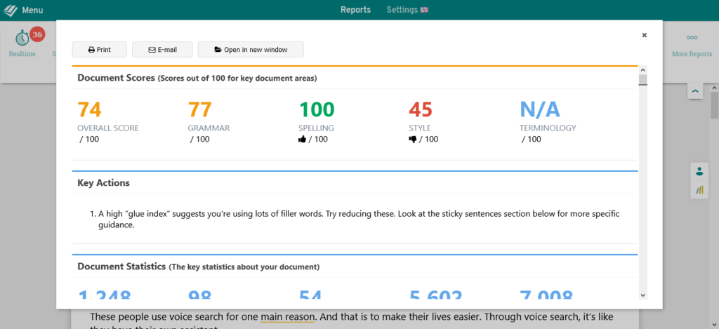 prowritingaid summary score